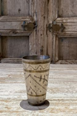 old brass lassi cup